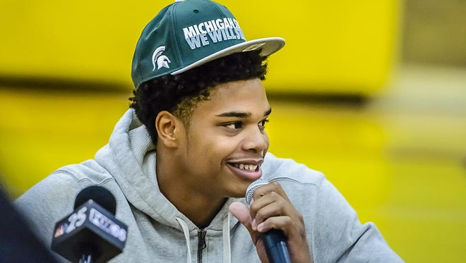 Miles Bridges smiles at an October news conference in Flint as he announces that he will accept a scholarship to play basketball at Michigan State in 2016-17.