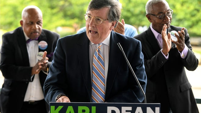 Rep. Craig Fitzhugh endorsed Tennessee democratic gubernatorial candidate Karl Dean at the West Tennessee Farmers' Market in Jackson, Friday, Aug. 10.