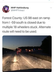 A couple 18-wheelers are stuck on the I-59 southbound