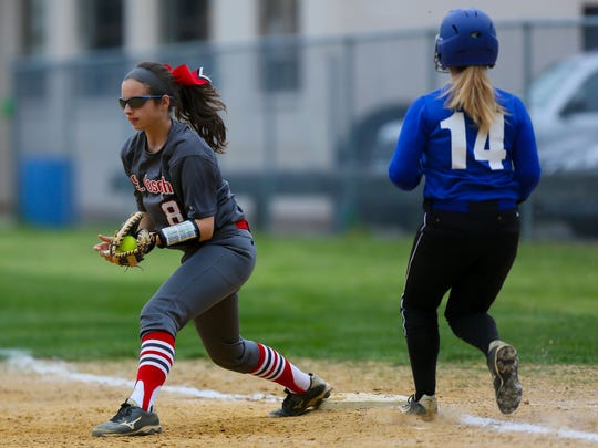 St. Joseph's Cara Owsley makes the out at first base during a 2-1 triumph over Wildwood Catholic on May 11.