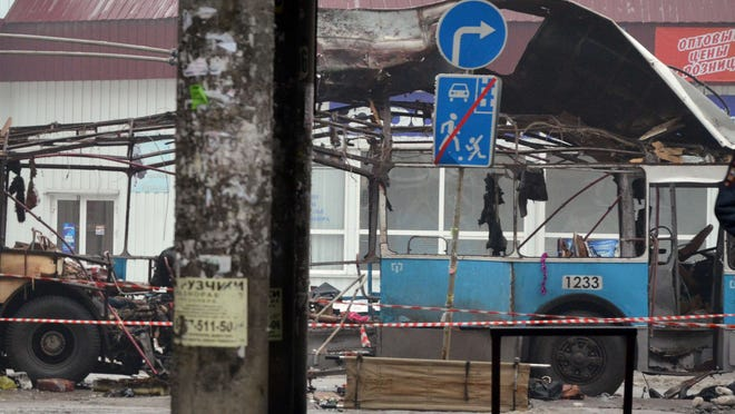 A destroyed trolley bus stands on a street in Volgograd on Monday after a suicide bombing.