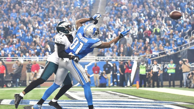 There was no call on this play with the Eagles' Byron Maxwell defending Lions wide receiver Calvin Johnson in the third quarter.