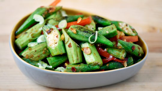Malaysian-style okra stir-fry, made with okra and peppers