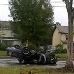 A car overturned this afternoon near UCF, according to Florida Highway Patrol.