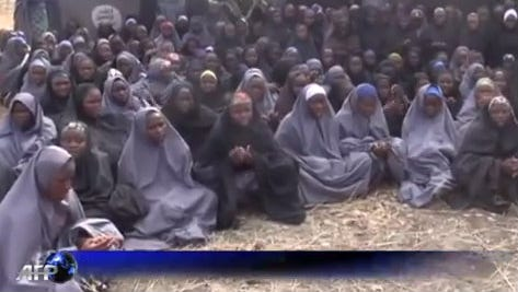 A screen shot from a video supplied to French news agency AFP that purports to show some of the kidnapped Nigerian schoolgirls.