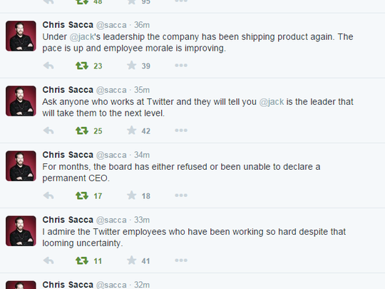 Chris Sacca is calling on Twitter's board to give interim