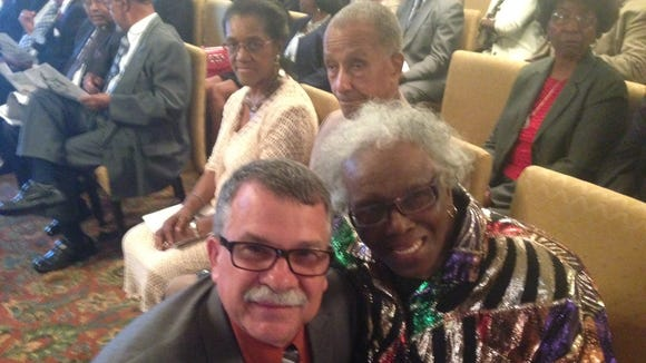 Bob Gabordi with Eva B. Mannings, the first black staffer at the Tallahassee Democrat and minority editor.