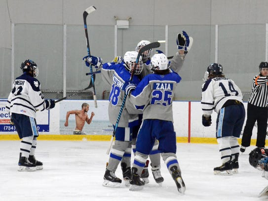 It's another goal celebration for the Salem Rocks,