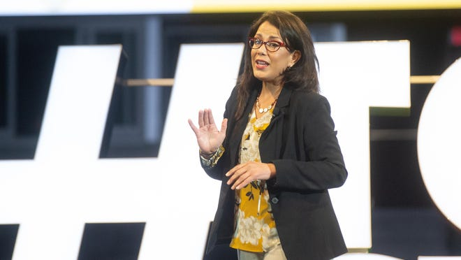 Topeka Mayor Michelle De La Isla talks about the community resilience and continued growth during the 2020 State of the Community event Thursday at Stormont Vail Events Center.