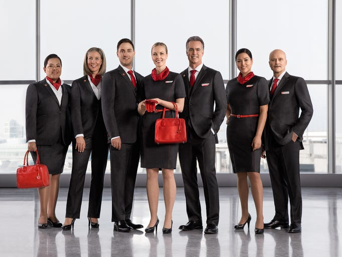 Air Canada's new uniforms for its flight attendants.