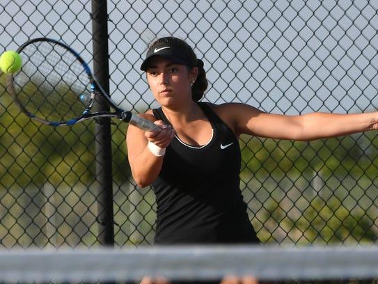 Amanda Sedaros of Viera plays doubles during a match last year.