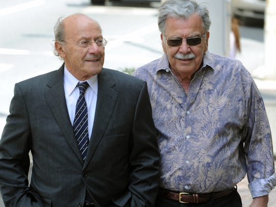 Developer Joseph L. Capano Sr. (right) making a court appearance with his attorney at the time, L. Vincent Ramunno, after a U.S. District Court hearing last year.