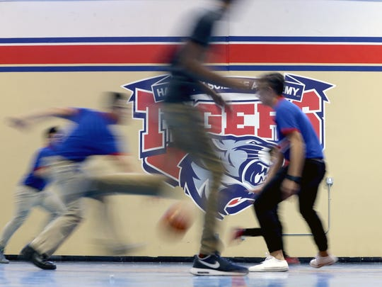 Harmony students burn off their lunches playing basketball