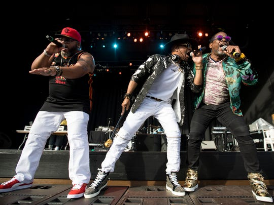 The Sugarhill Gang with Grandmaster Melle Mel & Scorpio Furious 5 perform at the U.S. Cellular Connection Stage Thursday.