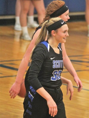 Scott senior Anna Clephane reacts to an official's call during Simon Kenton's 60-51 win over Scott in girls basketball Jan. 3, 2018 at Simon Kenton HS, Independence KY.