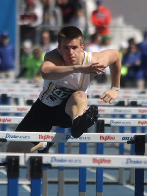 Southeast Polk senior Jace Christensen competes in the 110-meter hurdle final April 26 at the Drake Relays.