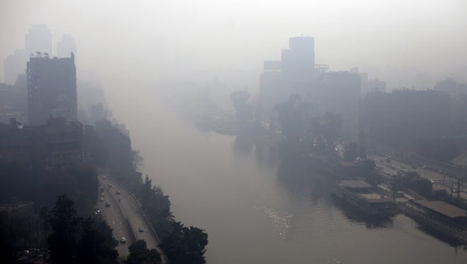 Pollution floats over the Nile River in Cairo in January 2013.