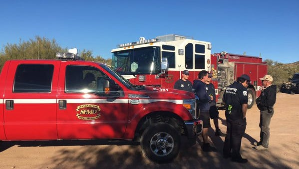 Superstition Fire and Medical crews partnered with MCSO to rescue a hiker stranded in the Superstition Mountains in Arizona on Wednesday, Dec. 30, 2015.