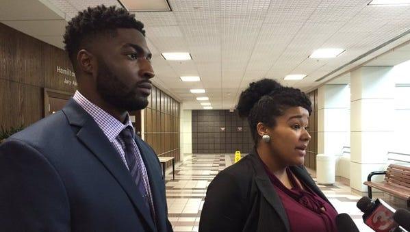 Cory Batey and attorney Courtney Teasley.