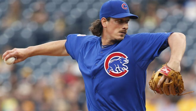 Chicago Cubs starting pitcher Jeff Samardzija delivers a pitch against the Pittsburgh Pirates at PNC Park.