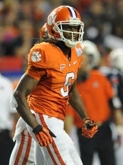 Clemson wide receiver DeAndre Hopkins (6) celebrates after catching a TD against Auburn during the 4th quarter of the Chick-fil-A Kickoff Game Saturday, September 1, 2012 in Atlanta.