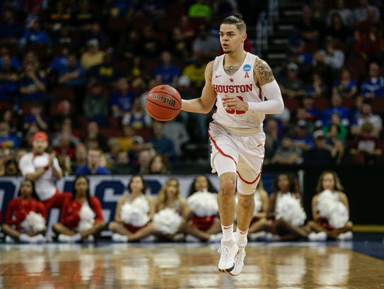 Houston guard Rob Gray dribbles against San Diego State