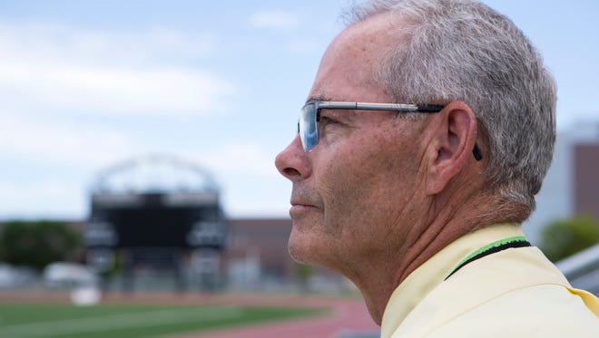 Mark Meile poses at Howard Wood Field in Sioux Falls, S.D. Wednesday, June 6, 2018.