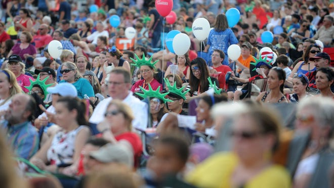 Attendees of Festival on the Fourth wait for the Knoxville Symphony Orchestra to perform in World's Fair Park on Monday, July 4, 2016.