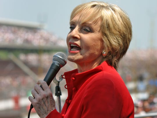 """Florence Henderson sings """"God Bless America,"""" before the 96th running of the Indy 500 at the Indianapolis Motor Speedway, Sunday, May 27, 2012.  Kay Nichols / The Star"""