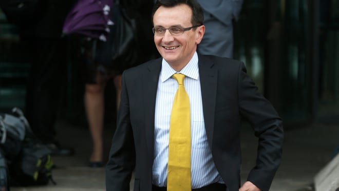AstraZeneca CEO Pascal Soriot leaves the British Parliament after a hearing in central London on May 13, 2014.