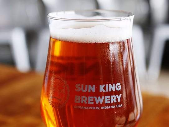 An Osiris Pale Ale poured at the new Sun King tap room