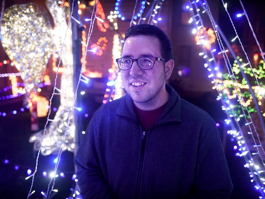 Cleona resident Darrell Moyer spends months putting together a holiday display that lights up his home at 117 West Penn. Ave.
