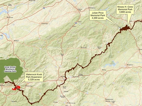 Newly conserved land along the Blue Ridge Parkway will