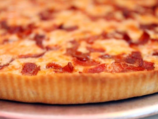Garlic and bacon pizza at the Nanuet Restaurant.