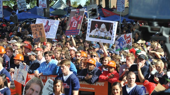 Fans pack The Grove in Oxford during Saturday's ESPN's