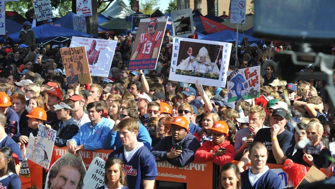 Fans pack The Grove in Oxford during Saturday's ESPN's Game Day pregame show before the Ole Miss game against Alabama.