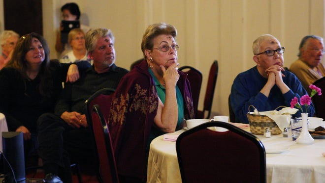 Audience members listen to a presentation on sex trafficking by Shared Hope International at First United Methodist Church on Wednesday.