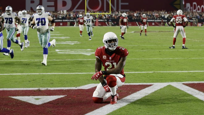 Arizona Cardinals Patrick Peterson reacts to a Dallas Cowboys touchdown in the second half during Monday Night Football on Sep. 25, 2017 in Glendale, Ariz.
