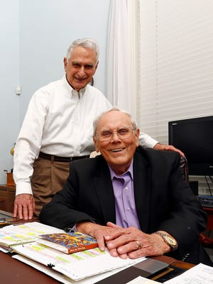 Bob True, a Catholic deacon at Christ the King Catholic Church, left, stands next to his friend, Carl McKelvey, director of Lipscomb University's Center for Spiritual Renewal, at the Longview Mansion in Nashville on Oct. 24, 2017.