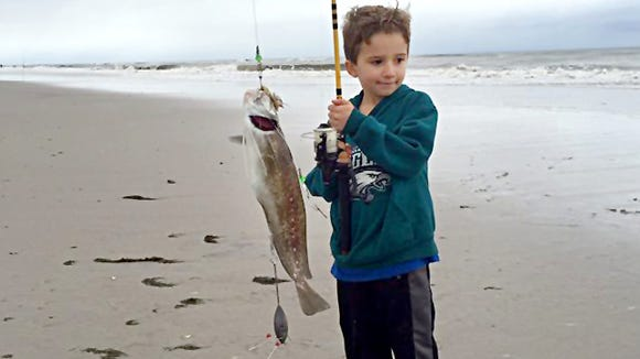6-year-old Matt Daniels with a nice ling landed from the Brigantine surf. 11/11/15.