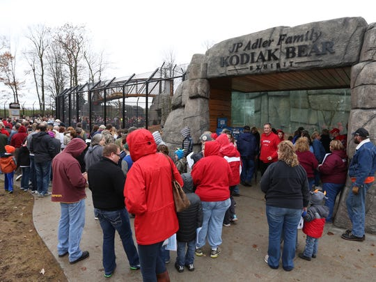 People stand several rows deep at the Grand Opening Ribbon Cutting & Meet the Cubs ceremony for the new JP Adler Family Kodiak Bear Exhibit at Wildwood Zoo in Marshfield on Saturday.