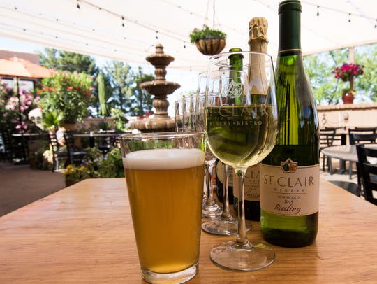St Clair Winery and Bistro sample offerings of beverages.