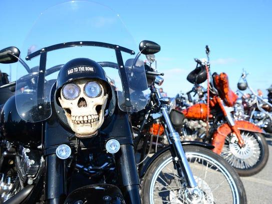 Motorcycles pack the Ocean City Inlet during Bike Week