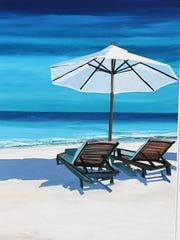 Thomas LeGault's paintings remind buyers of their summer vacation in northwest Michigan.