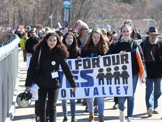 Kayla Smith, 17, of Poughkeepsie leads  the March For
