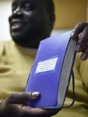 Former Paterson Councilman Anthony Davis showing the journal he kept while incarcerated.
