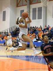 COS sophomore guard Idalis Rubalcava attacks the hoop