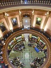 Inside the Michigan State Capitol rotunda.