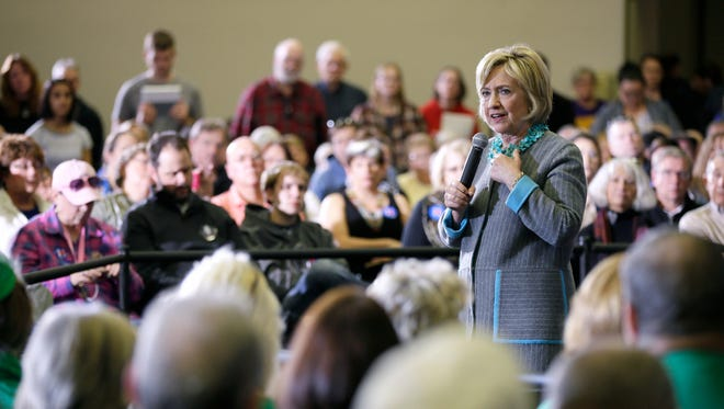 Democratic presidential candidate Hillary Clinton speaks during a town hall meeting, Wednesday, Dec. 9, 2015, in Waterloo.