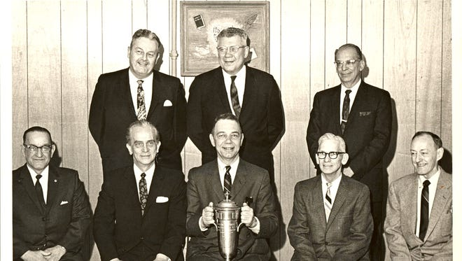 The Lebanon County Historical Society received the following information about this photo published on May 3: The photo is of the 1926 YMCA men's state championship basketball team. It was taken in 1956 when the team was reunited to celebrate the 30th anniversary of their unlikely victory. The team was coached by Earl Fornwalt. It was one of his first duties as an employee of the YMCA.  Sitting on the far left is Dick Miller, who was later inducted into the Pennsylvania Bowling Hall of Fame. Second from the left is Tony Ficco Sr. For more information, contactl Lisa Layser at office@lchsociety.org or call 717-272-1473.